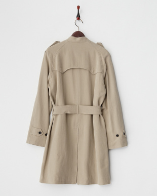 BEIGE  STAND COLLAR TRENCH COAT見る