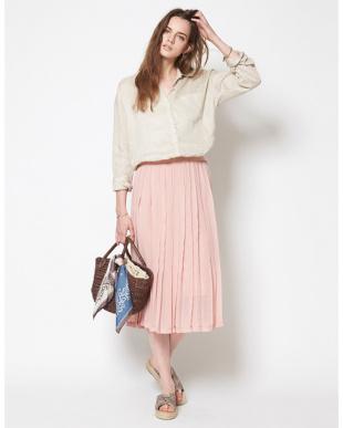 ピンク  プリーツシフォンミディアムスカート見る