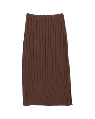 ブラウン  ワイドリブニットタイトスリットスカート見る