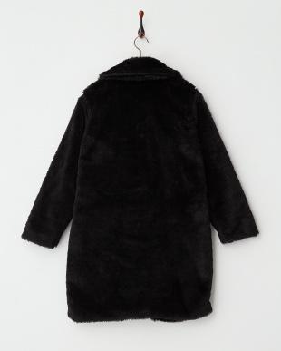 ブラック  フェイクファーBIG衿コート見る