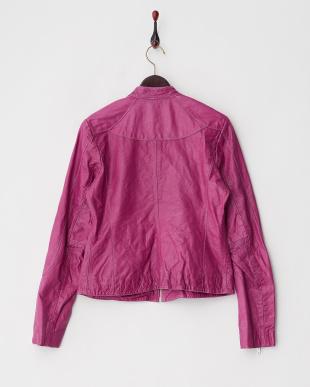 ピンク  シングルライダースレザージャケット見る