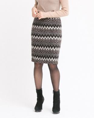 ブラウン  マルチミックスカラースカート見る