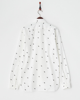 ホワイト×ブラック 総柄 プリントシャツ見る