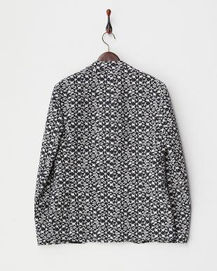 ブラック×ネイビー×ホワイト 織り柄2つボタンテーラードジャケット見る