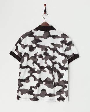 オフホワイト×グレー×ブラック 総柄ポロシャツ見る