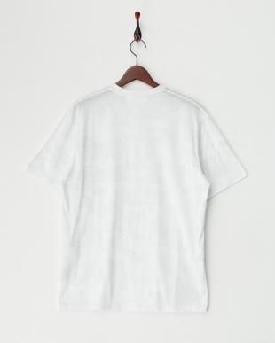ホワイト×オフホワイト×グレー 総柄クルーネックTシャツ B見る