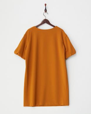 オレンジ  袖スリットコクーンワンピース見る