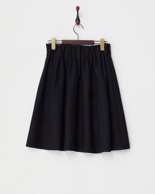 ネイビー  ウール混ウエストゴムギャザースカート見る