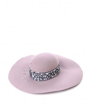 ピンク  飾りリボンつば広ハット見る