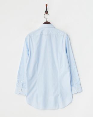ブルーストライプ ワイドカラーワイシャツ見る