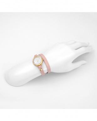 ピンク  MEXICO レザーベルト腕時計見る