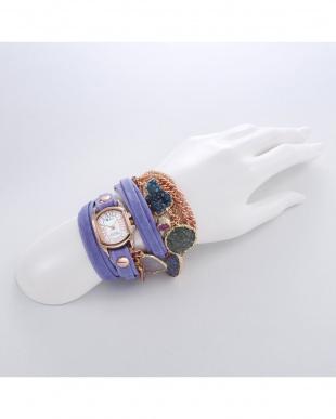 パープル MEXICO レザーベルト腕時計見る