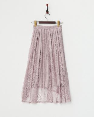 ピンク  イレギュラーヘム レーススカート見る