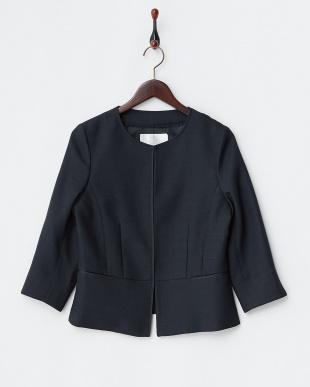 ネイビー  格子織り柄ノーカラー7分袖ジャケット見る