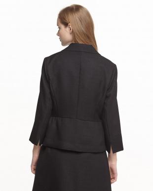 ブラック  格子織り柄7分袖ペプラムジャケット見る