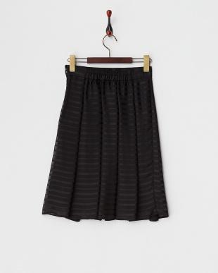 ブラック  シャドーボーダー タックプリーツスカート見る