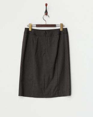 チャコールストライプ  ストレッチタイトスカート見る