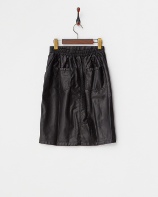 ブラック  フェイクレザータイトスカート WH見る
