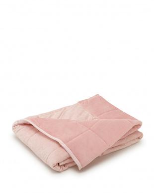 ピンク  型押しボタニカル柄 ウォッシャブル合繊肌掛けふとん シングル見る