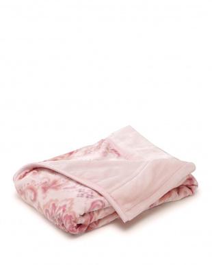 ピンク  ペイズリー調柄 マイヤー毛布見る