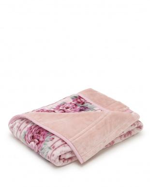 ピンク  バラ柄 マイヤー毛布見る