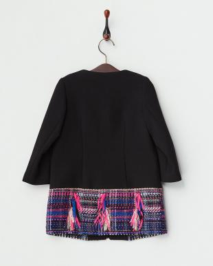 ブラック 裾ツイード切り替えショートジップコート|KIDS見る