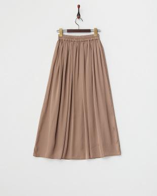 ブラウン  Vサテンミディギャザースカート見る