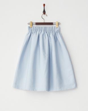 ブルー ウエストゴムギャザースカート見る