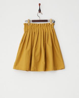 イエロー  グログランウエストギャザースカート見る