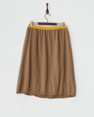 ダークベージュ  コットンウールジャガードスカート見る