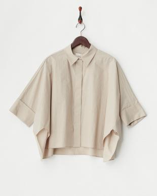 ベージュ  タイプライターwool mix ワイドシャツ見る