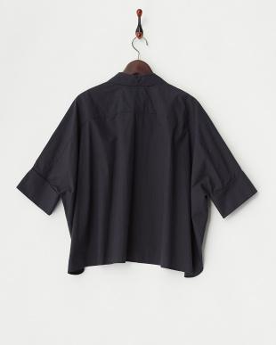 ネイビー  タイプライターwool mix ワイドシャツ見る