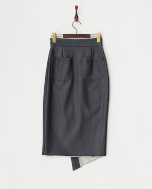 インディゴ  デニムライクハトメデザインラップスカート見る
