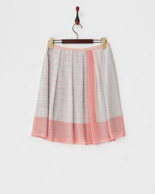 ピンク 格子柄シフォンスカート見る