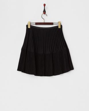 ブラック  切り替えプリーツスカート見る