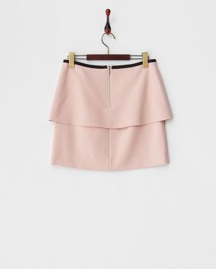 ピンク ラッフルペプラムスカート見る