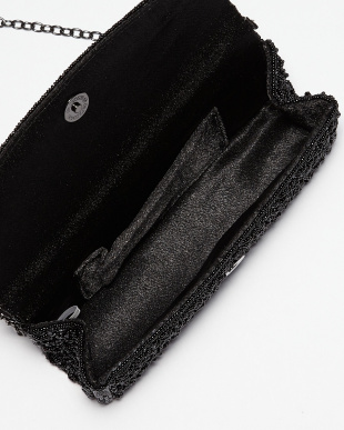 ブラック  ビーズビジュー×スパンコール コンパクトクラッチバッグ見る
