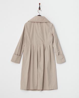 ベージュ  中綿衿ロングコート見る