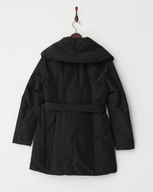 ブラック ベルト付きショールカラー中綿コート見る