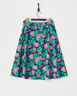 ネイビー  フラワープリントスカート見る