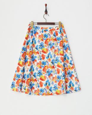 ホワイト  フラワープリントスカート見る
