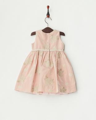 ピンク リボン付きフラワー刺繍ワンピース12M~見る