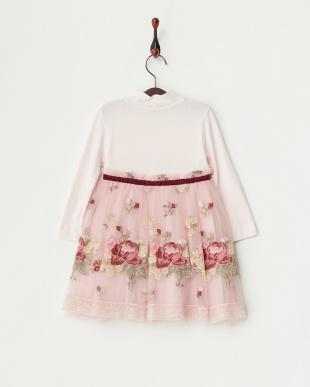 ピンク フラワー刺繍チュールワンピース4Y~見る