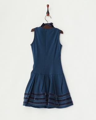 ブルー 付け衿 裾ボーダーワンピース6Y~見る
