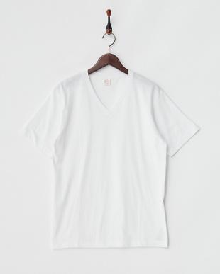 ヘザーグレー×ホワイト  2Pパック VネックTシャツ見る