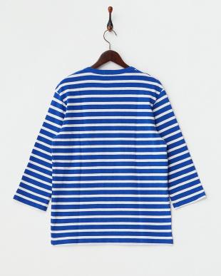 ブルー  ボーダ7分袖 アンカーボタンバスクシャツ見る