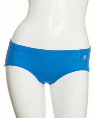 ブルー×ネイビー  2色セット・やさしい綿混 1分丈ショーツ見る
