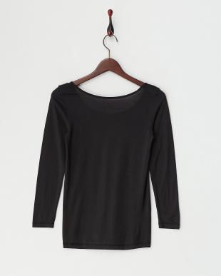 ブラック  ヒートエディット 吸湿発熱 保湿機能 8分袖シャツ見る