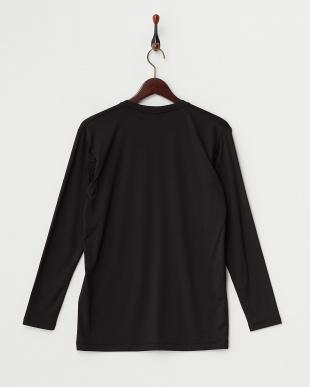 ブラック  瞬暖 裏起毛ストレッチ Vネック長袖Tシャツ見る