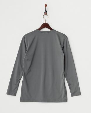 チャコールグレー  瞬暖 裏起毛ストレッチ Vネック長袖Tシャツ見る
